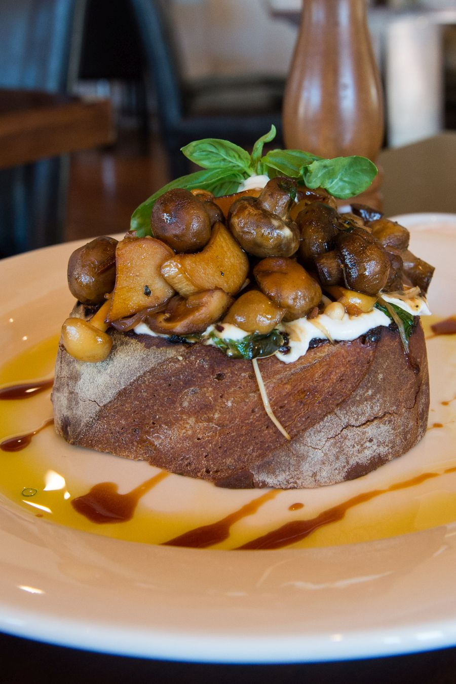 Mushrooms on toast (AU$15) with goats curd, basil and vincotto - reverse view