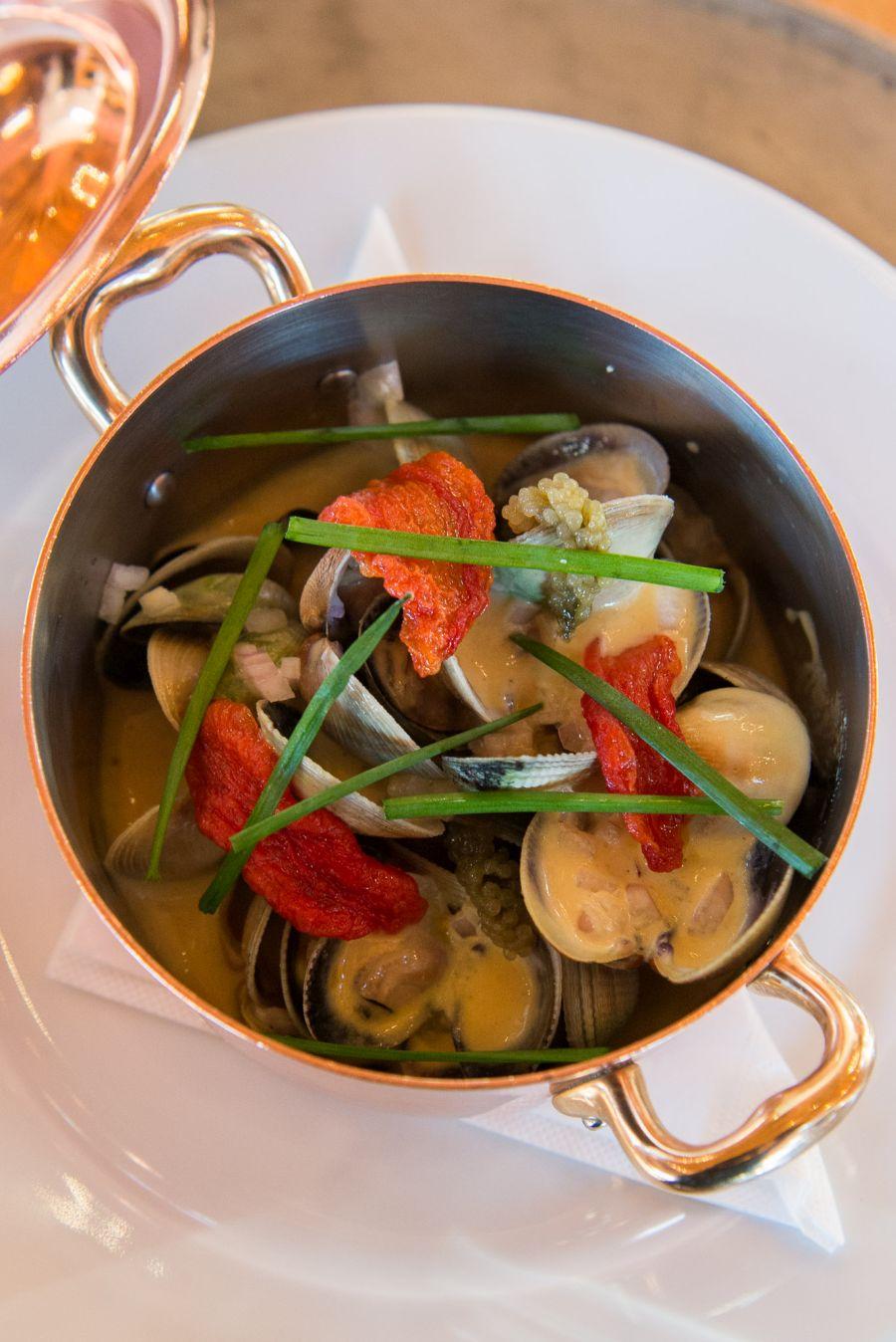 Steamed littleneck clams, 'Craggy Range' verjus and mustard cream sauce  (NZ$25)