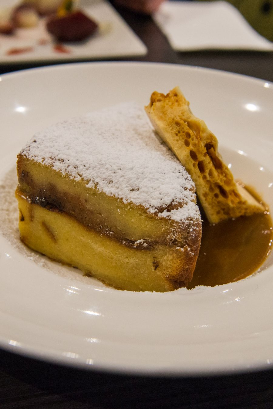 Brioche bread & butter pudding, butterscotch sauce, honeycomb, banana and rum (AU$14.50)