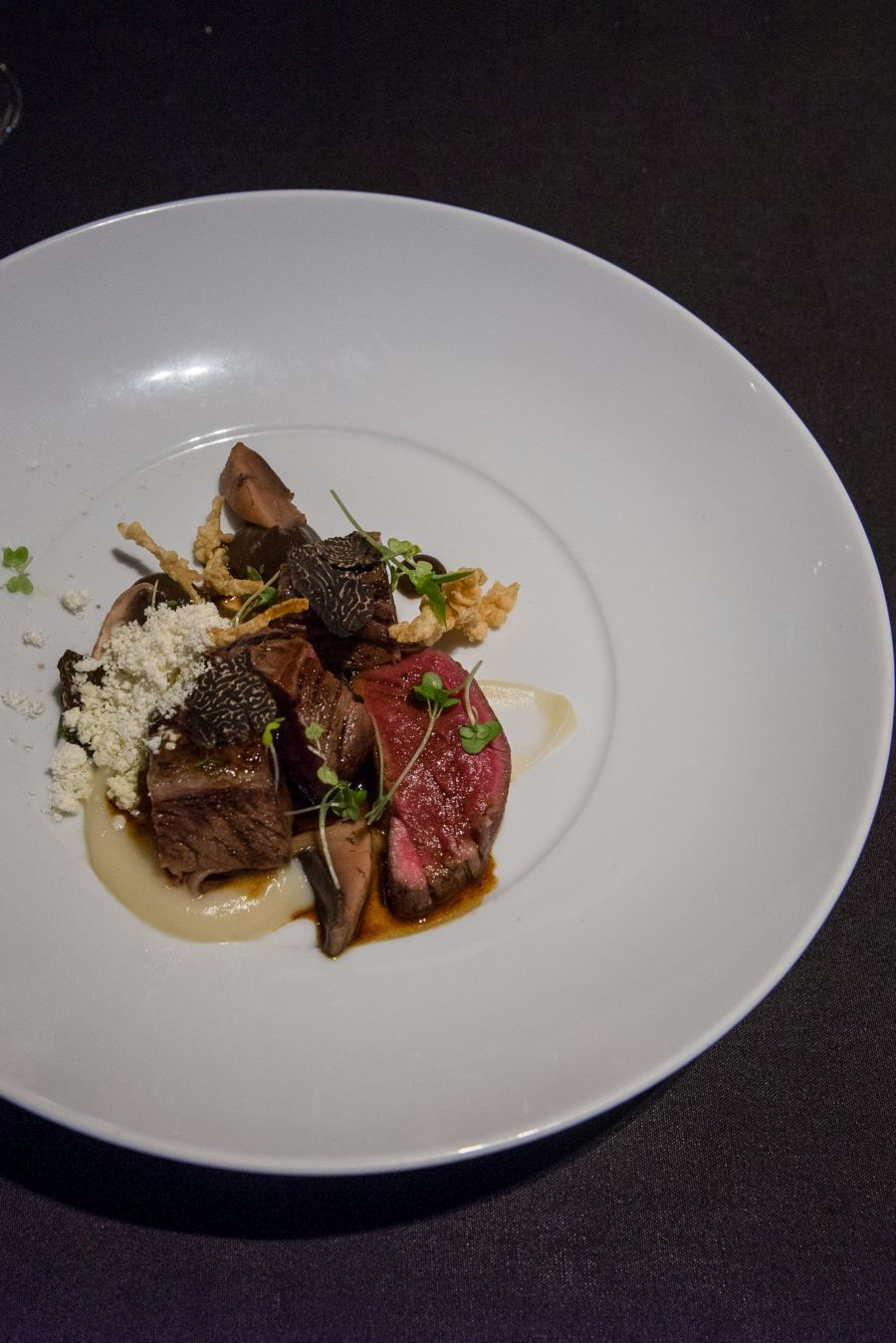 Braised beef short ribs, sous vide fillet with celeriac-forest mushroom textures, The George