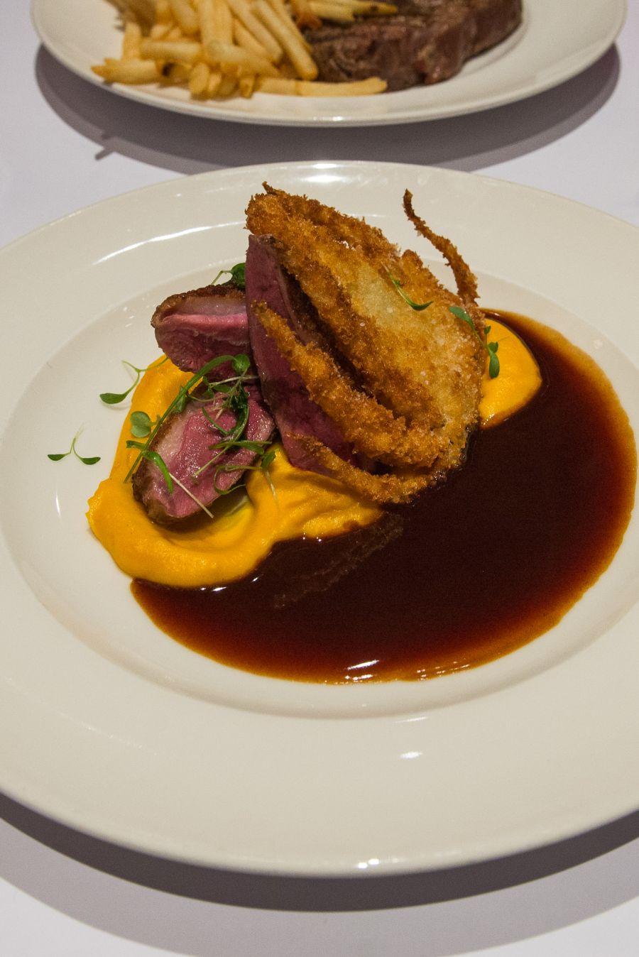 The Masterchef Australia dish: Seared duck breast, pumpkin purée, fennel crisp, Madeira jus (AU$43)