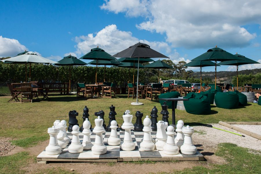 The giant chess set at Wild on Waiheke