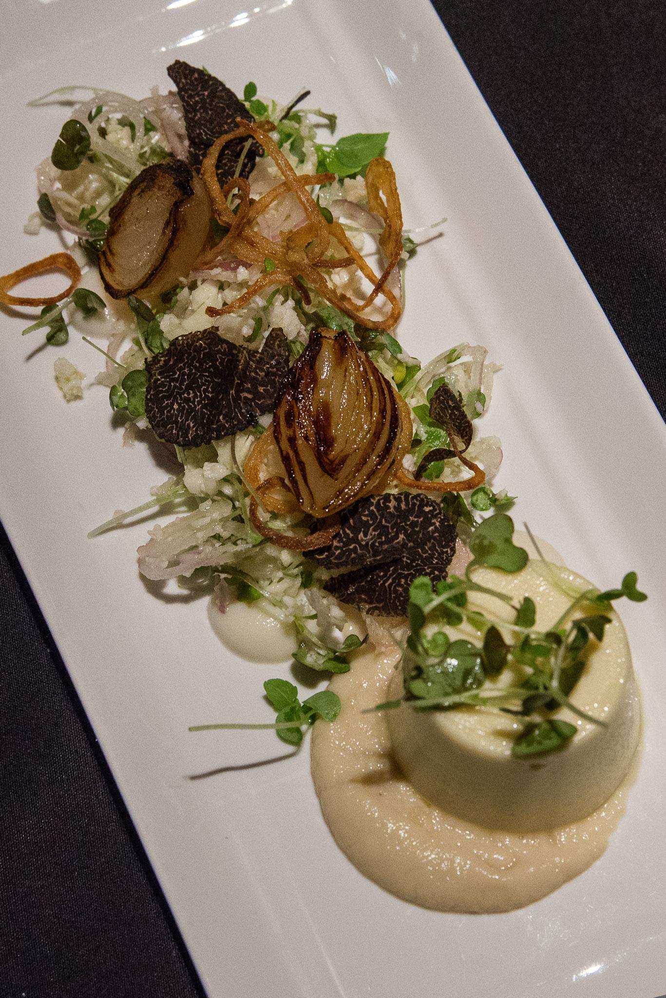 Cauliflower custard, shaved Manjimup truffle with smoked baby onions and turnip, The George.