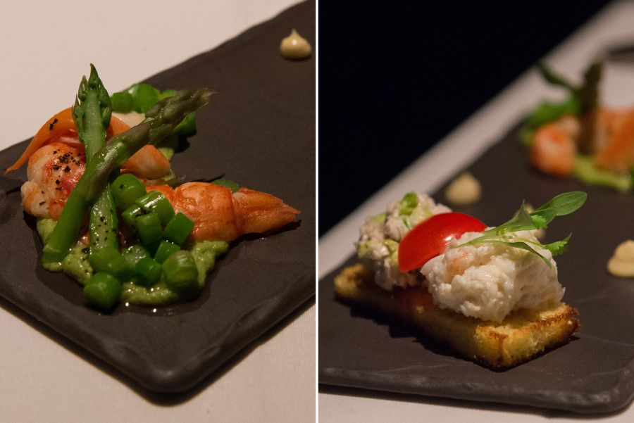 Marron with asparagus; crab, chicken and mayo sandwich; truffle mayonnaise