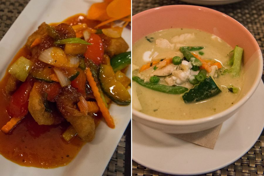 Crispy pan fry 'catch of the day' in sweet and sour sauce  (NZ$23.50), traditional green curry chicken (NZ$21.50)