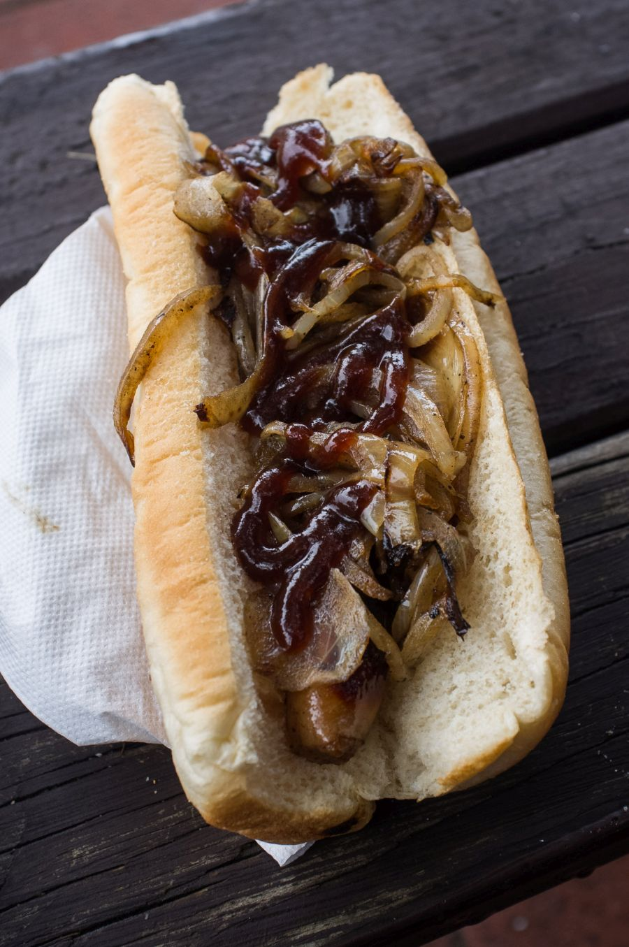 My sausage sizzle: sausage, extra onions, barbecue sauce
