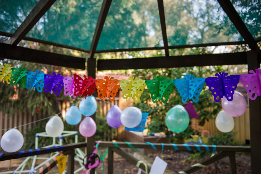 Rainbow butterfly party decorations
