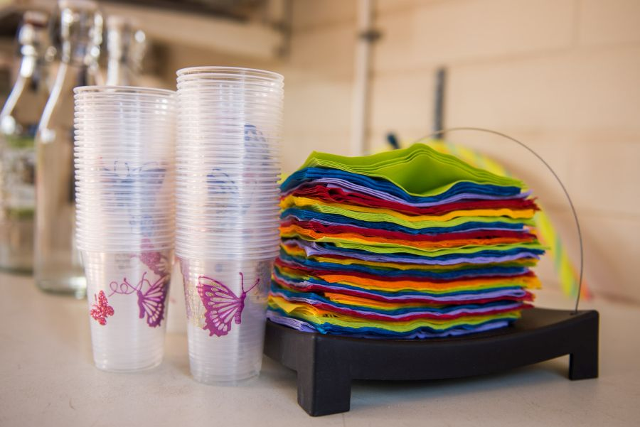 Rainbow napkins and butterfly cups
