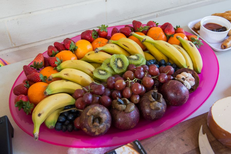Rainbow fruit platter by my sister CW