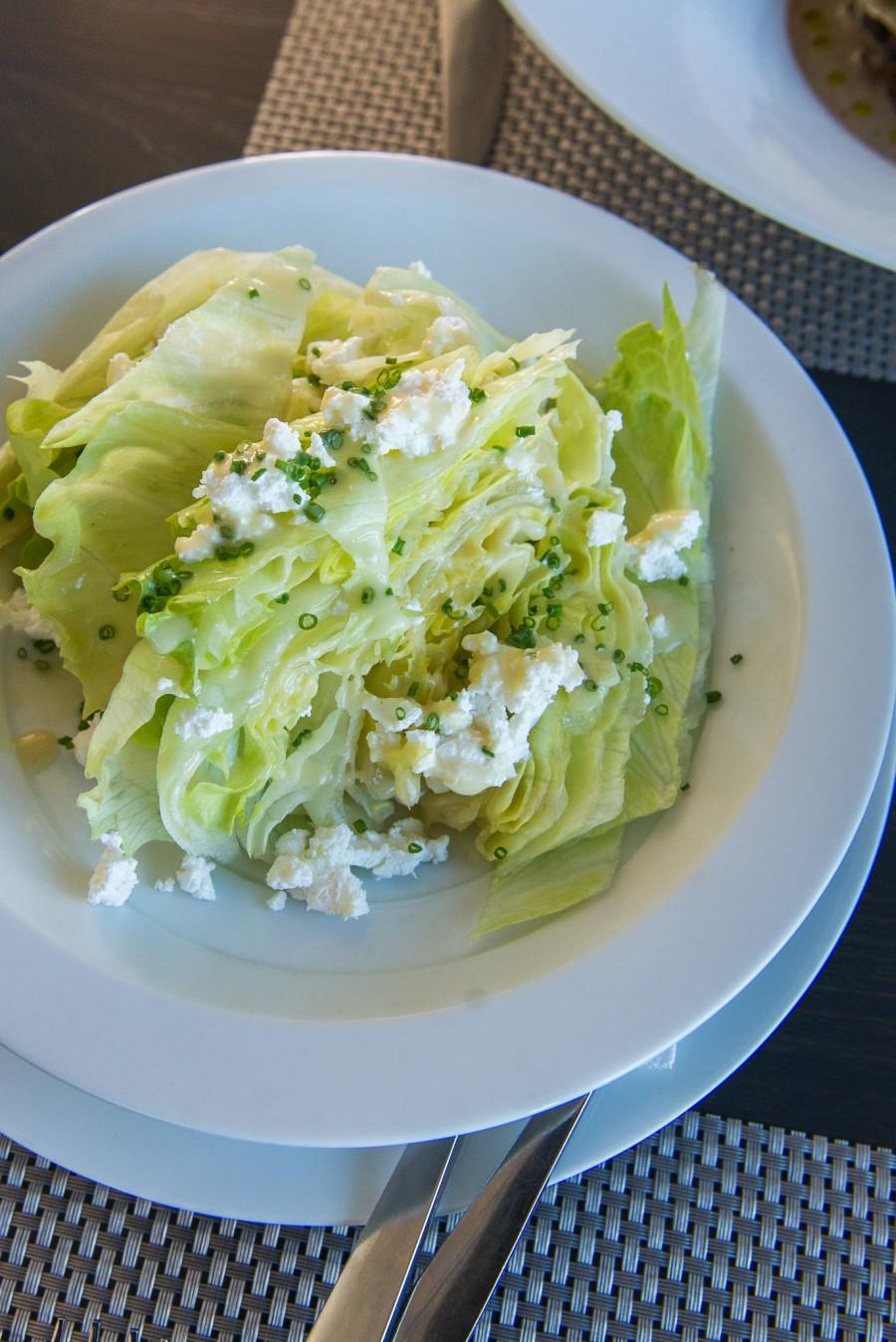 Iceberg lettuce, feta, champagne dressing