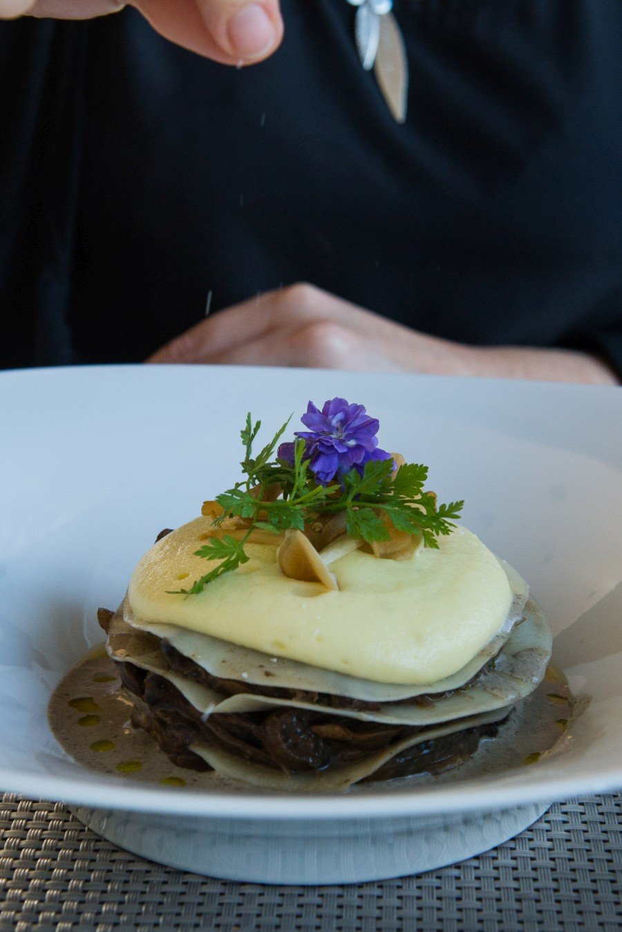 Open ravioli, organic mushroom ragout, potato mousse, truffle cream