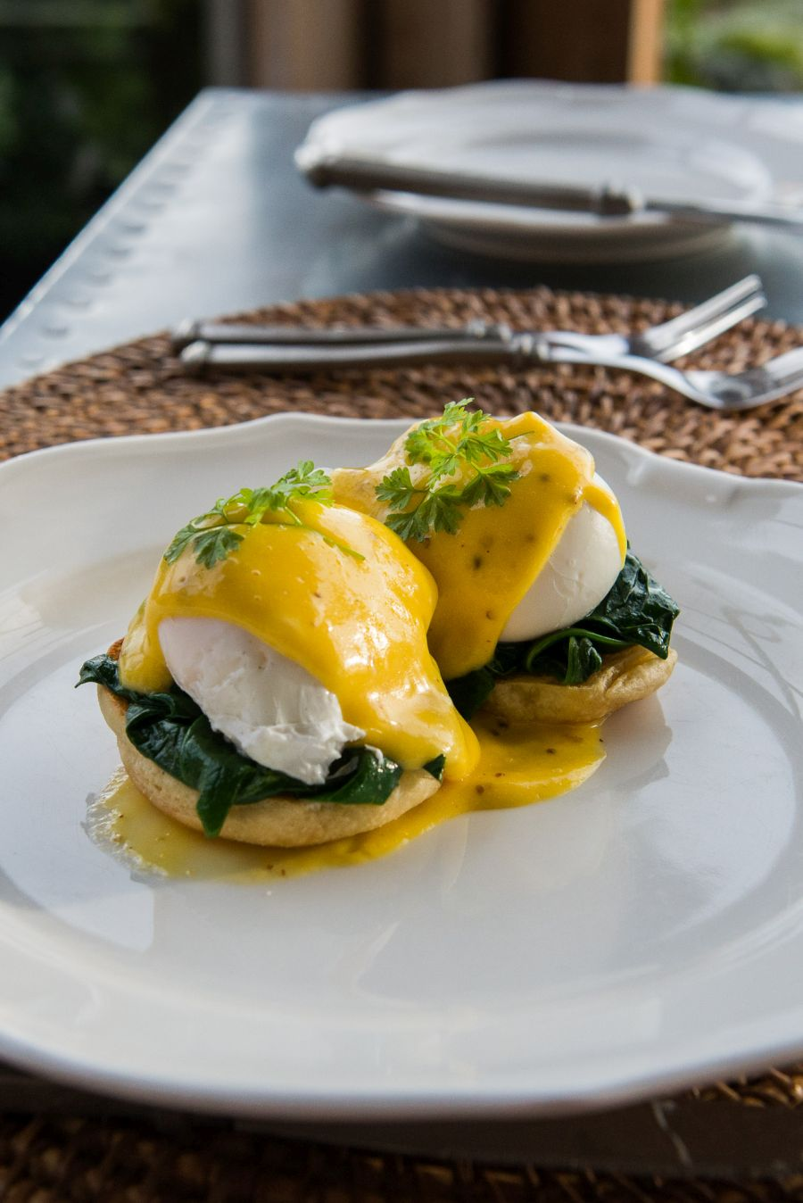 Eggs Benedict - with free range poached eggs, whole grain mustard hollandaise and spinach