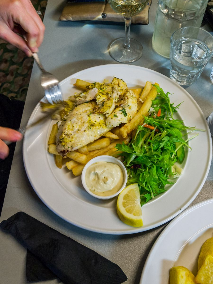 Fresh panfried fish with salad, fries and mint aioli (NZ$22)