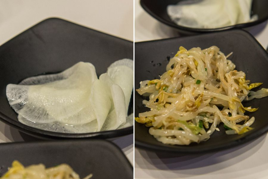 Pickled daikon, mung bean sprouts