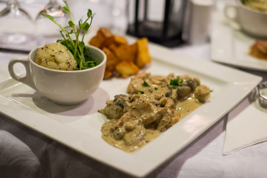 Creamy chicken fricassee served with forester of wild mushroom and herb new potato (AU$29)