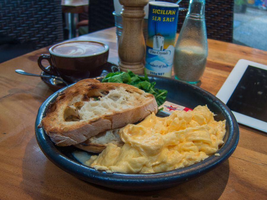My favourite breakfast of scrambled eggs, spinach and toast at City Farm Cafe in East Perth