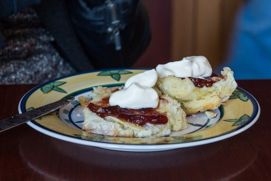 Homemade scones with damson jam and cream