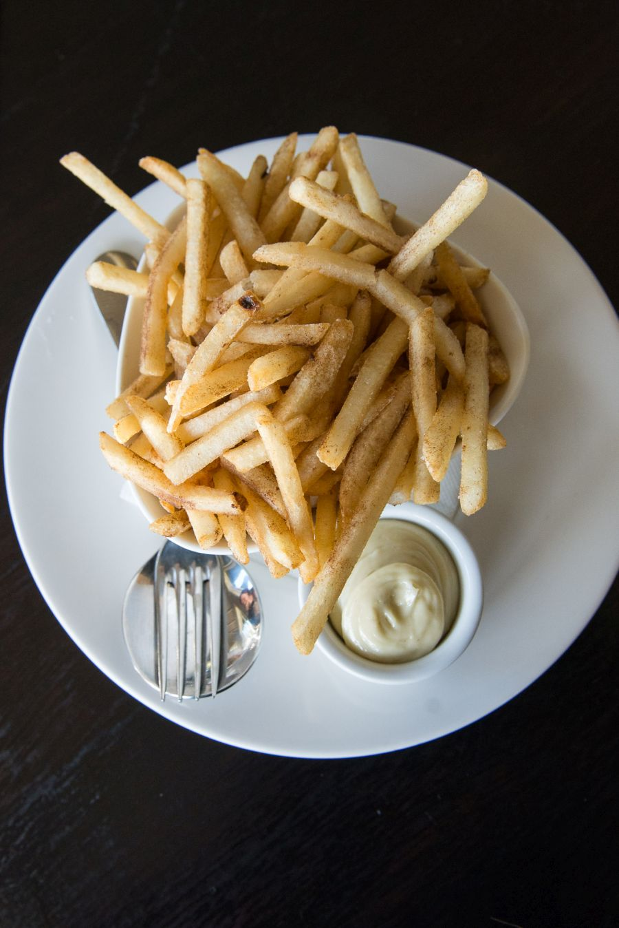 Porcini dusted shoestring fries with blue cheese mayo (NZ$7)