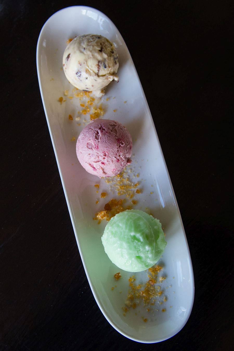 Top to bottom: Fruit mince ice cream, berry ice cream and apple sorbet (NZ$12 for three scoops, selection changes daily)
