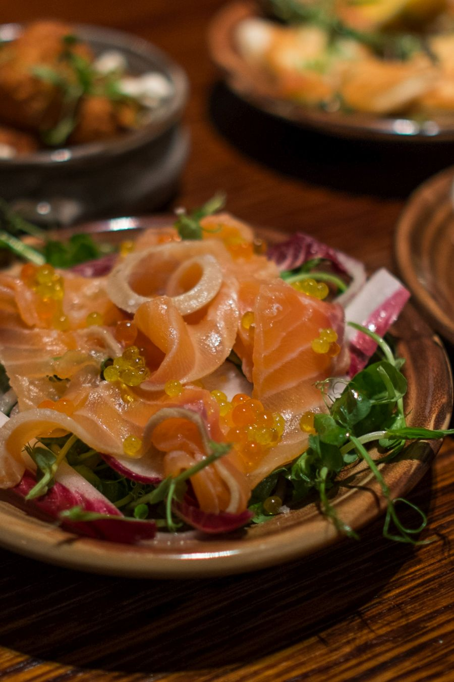 House-smoked apple and whisky cured salmon (AU$16, gluten-free)