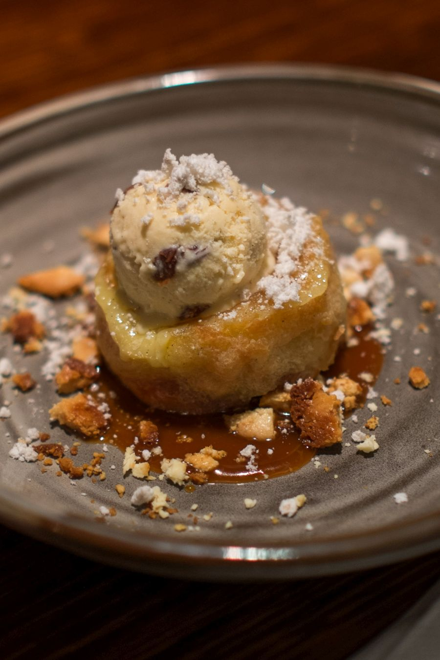 Croissant bread and butter pudding, salted caramel, Captain Morgan's ice cream (AU$14)
