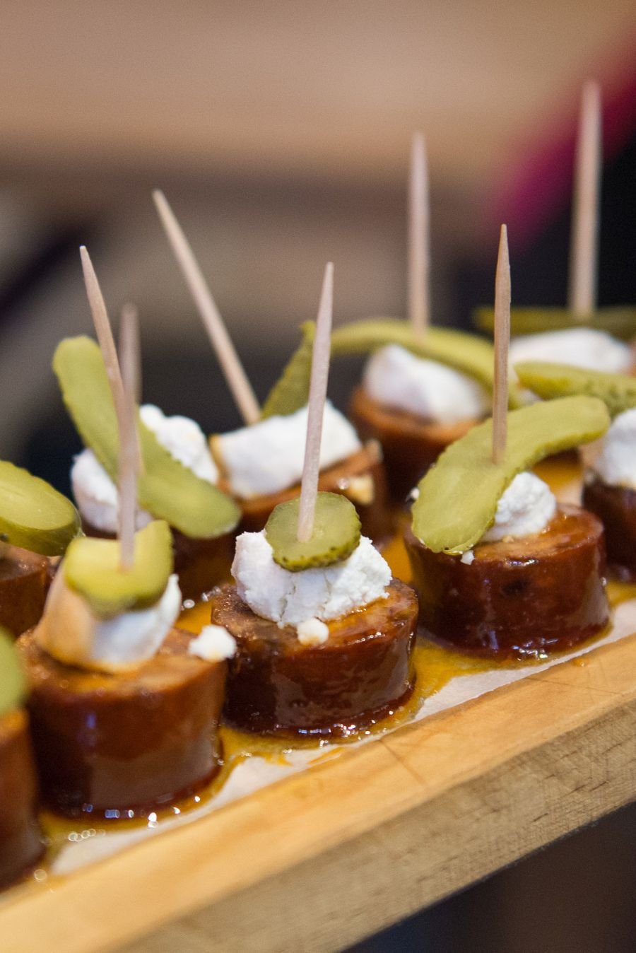 Pintxos chorizo con miel - sausage, honey and cheese (AU$2 each)