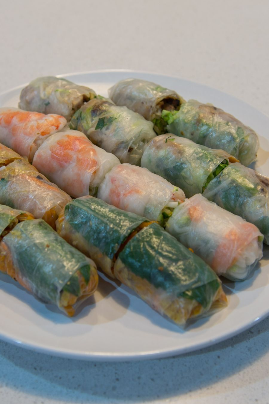 Vegetarian and meat rice paper rolls