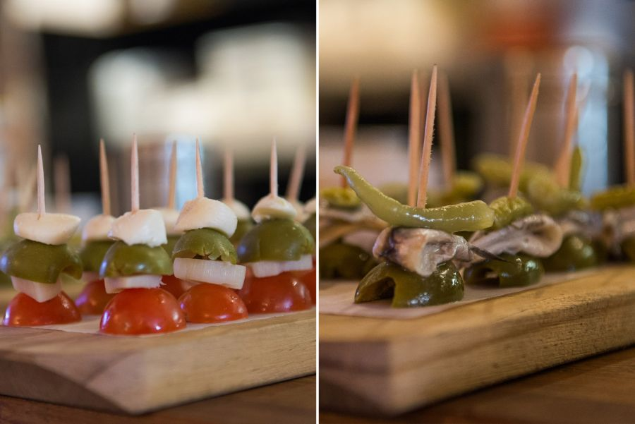 Left: pintxos palmitos - palm hearts, olive, tomato and cheese  (AU$1 each). Right: pintxos gilda - white anchovy, pickle and green olive (AU$1 each)