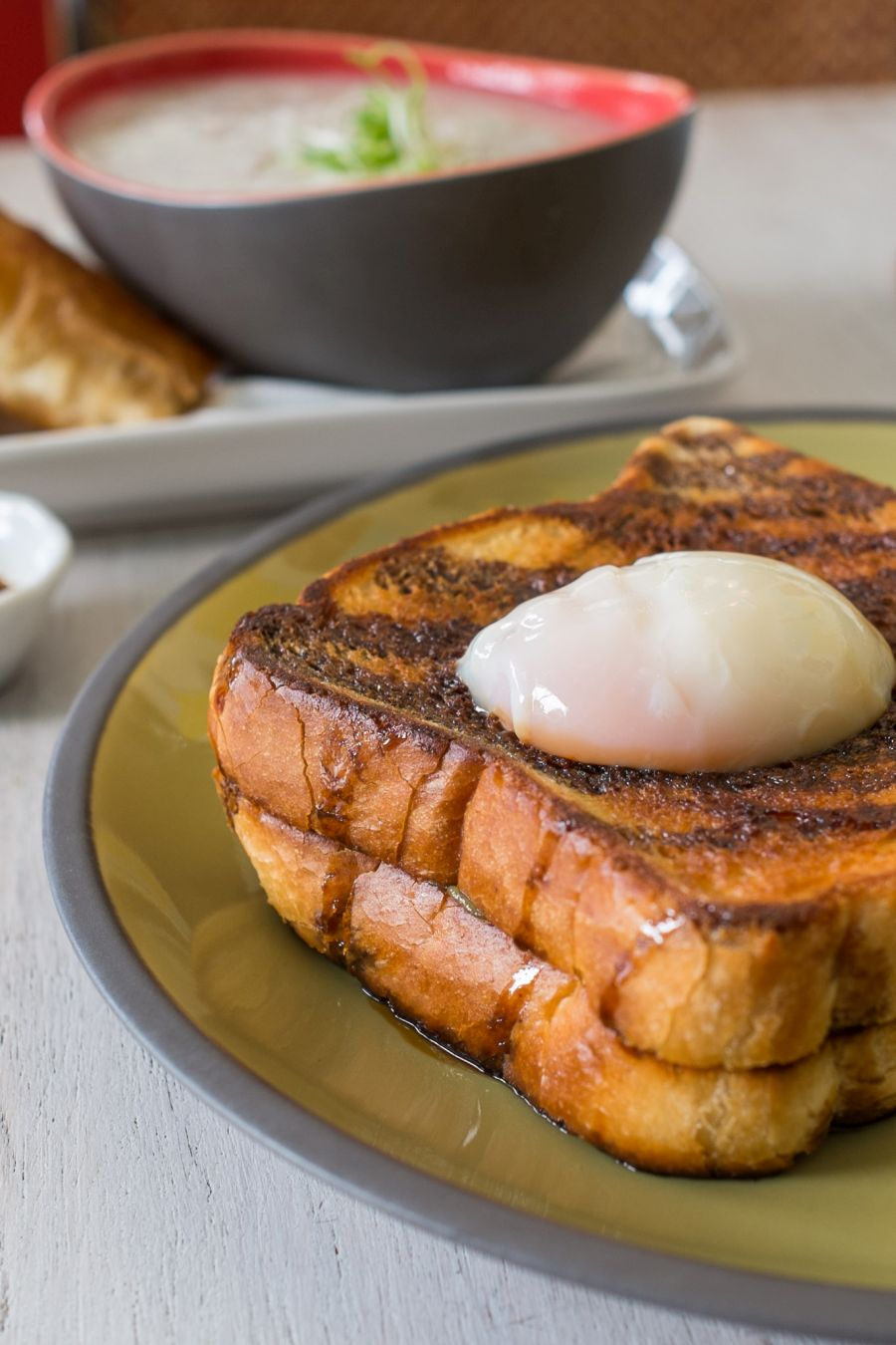 Kaya toast - Texas toast, pandan kaya, 62C egg, sweet soy (AU$12)