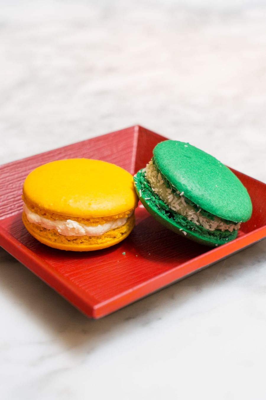 Macarons: Left - lemon, ginger and pineapple; right - pandan