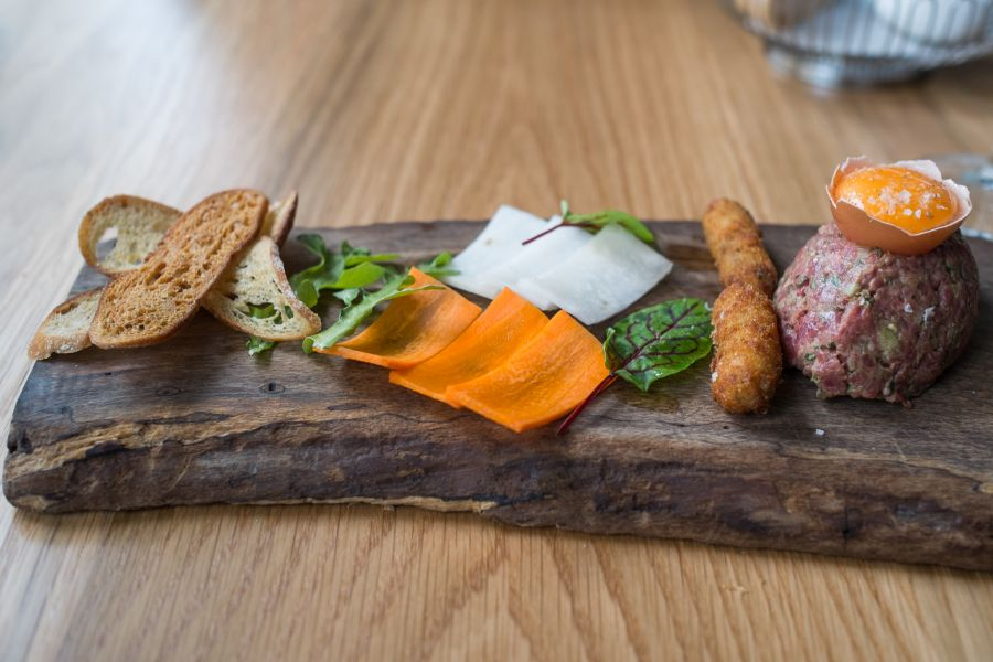 Steer steak tartare - marrow croquette, Melba toast, jalapeno, crudites (AU$16)
