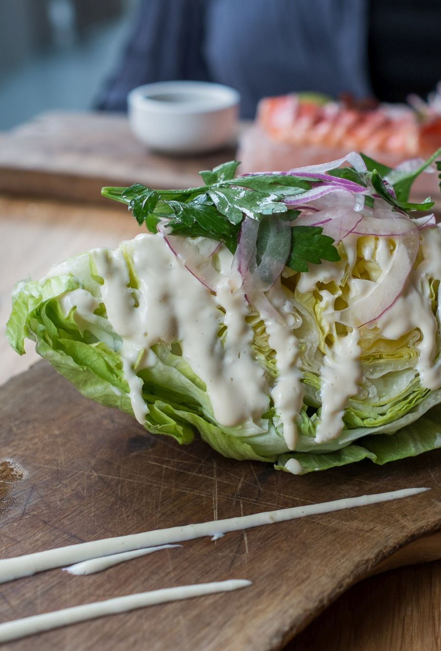 Iceberg wedge, ranch dressing, red onions (AU$8)
