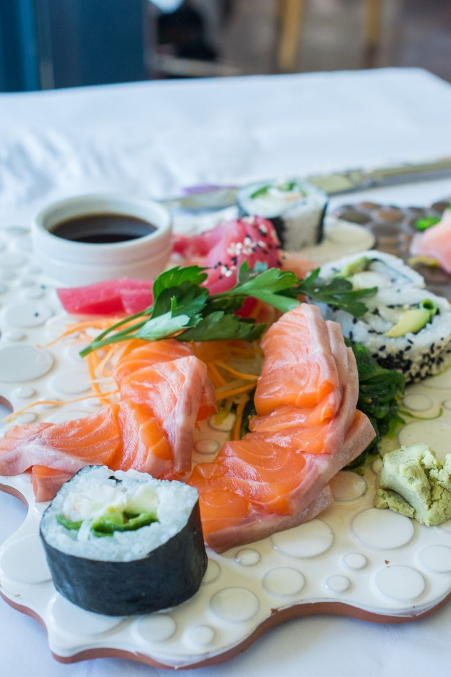 Fresh sushi and sashimi plate with salmon and tuna (AU$28/42)