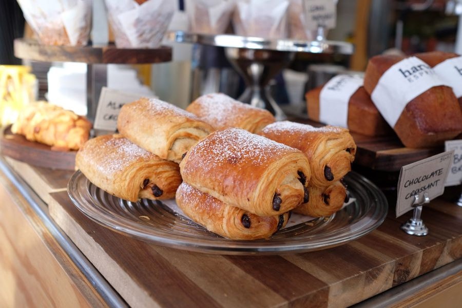 House-baked chocolate croissants