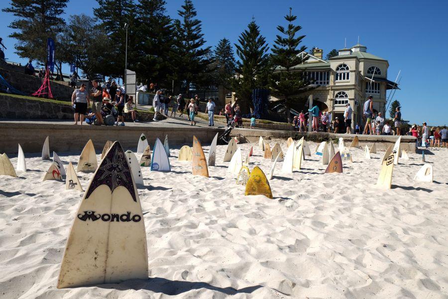 150 surfboard graveyard -Cottesloe by Chris Anderson.  Broken surfboards
