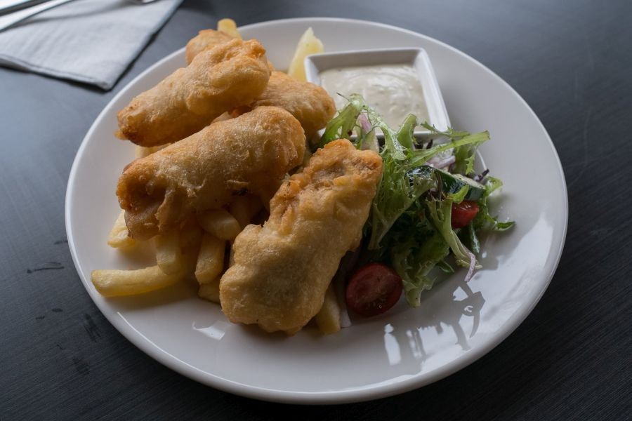 Fish and chips - beer battered salad and housemade tartare sauce (AU$23)