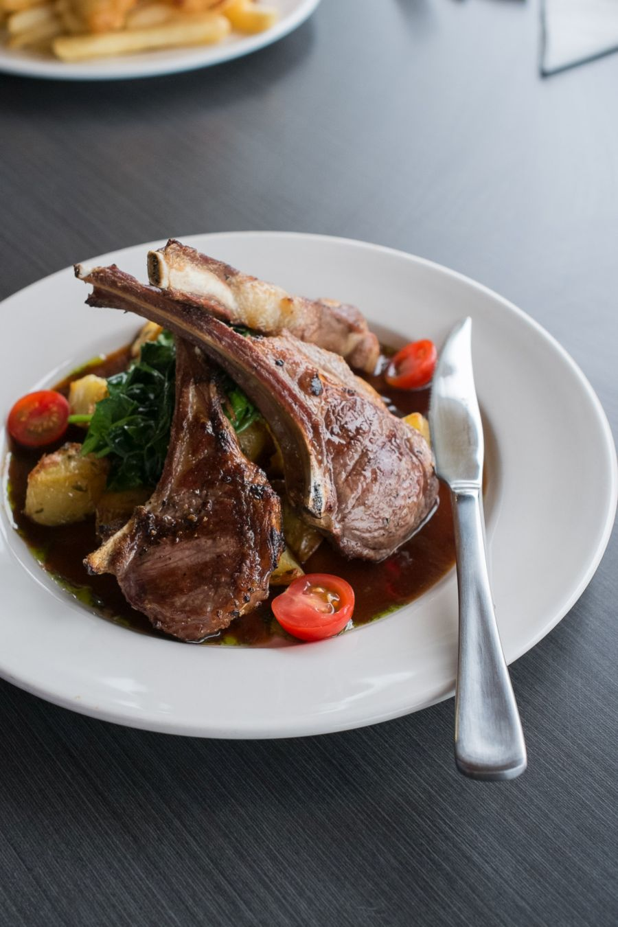 Lamb cutlets - with roast potatoes, wilted spinach and rosemary gravy (AU$31)