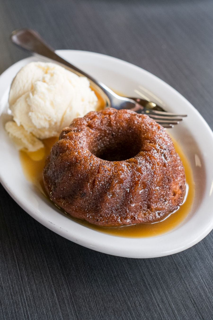 Sticky date pudding with butterscotch and ice cream (AU$7)
