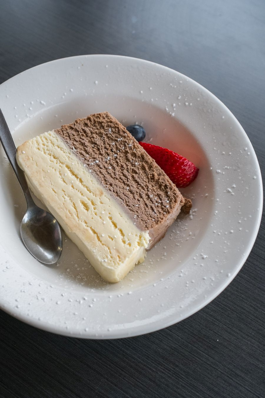 White and dark chocolate ice cream terrine (AU$7)