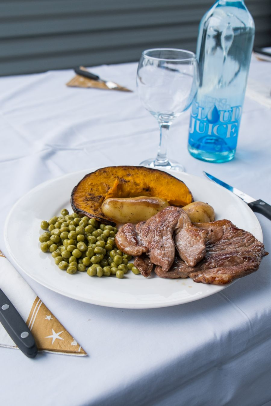 King Island lamb with three veg (potato, pumpkin, peas)