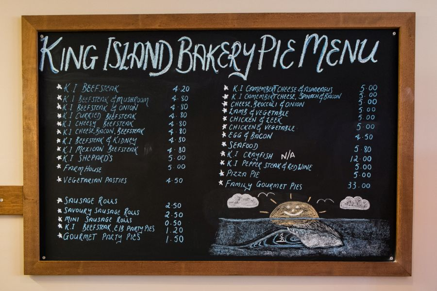 King Island Bakery pie menu