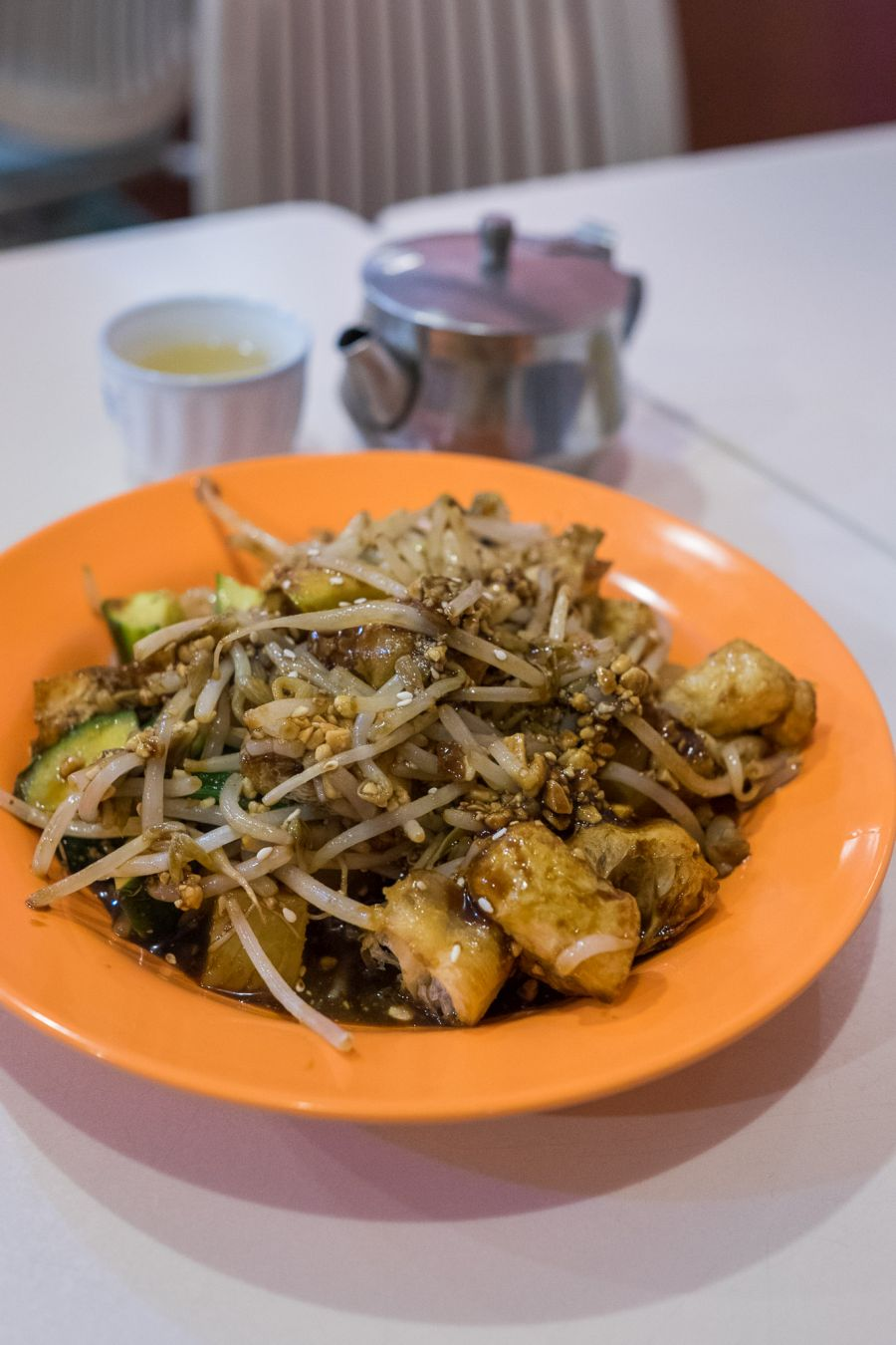 Chinese rojak (AU$8) with blanched beansprouts, cucumber, pineapple, apple, fried tow pok tossed with ground roasted peanuts and shrimp paste