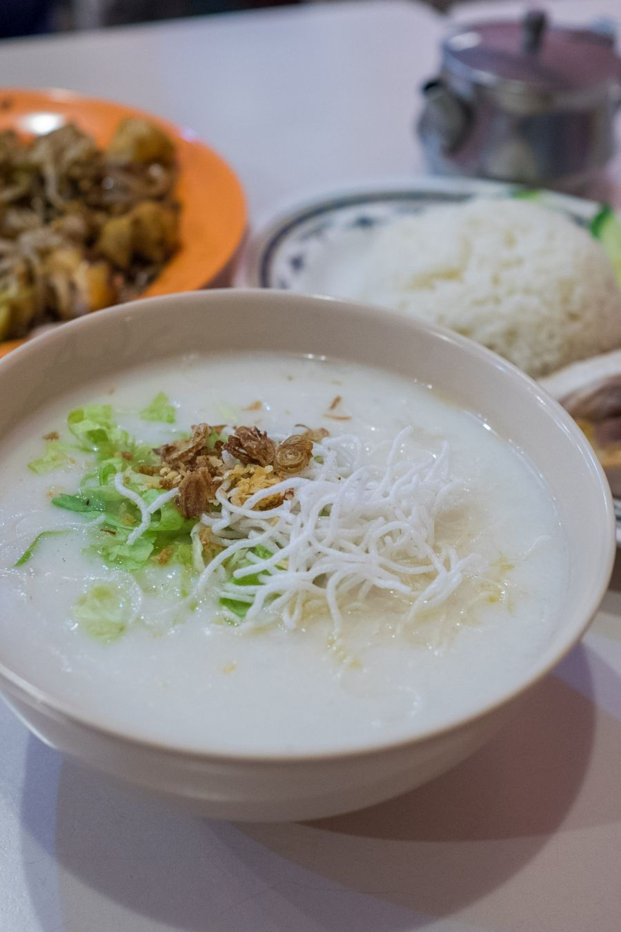 Chicken porridge (AU$7.50) - Cantonese-style rice porridge with shredded chicken