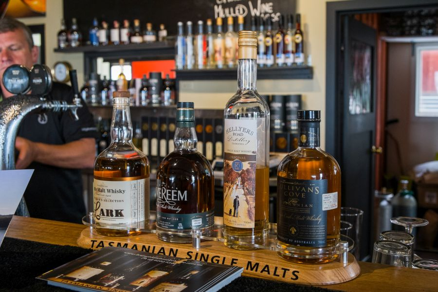 Tasmanian single malt whiskies are available for tasting
