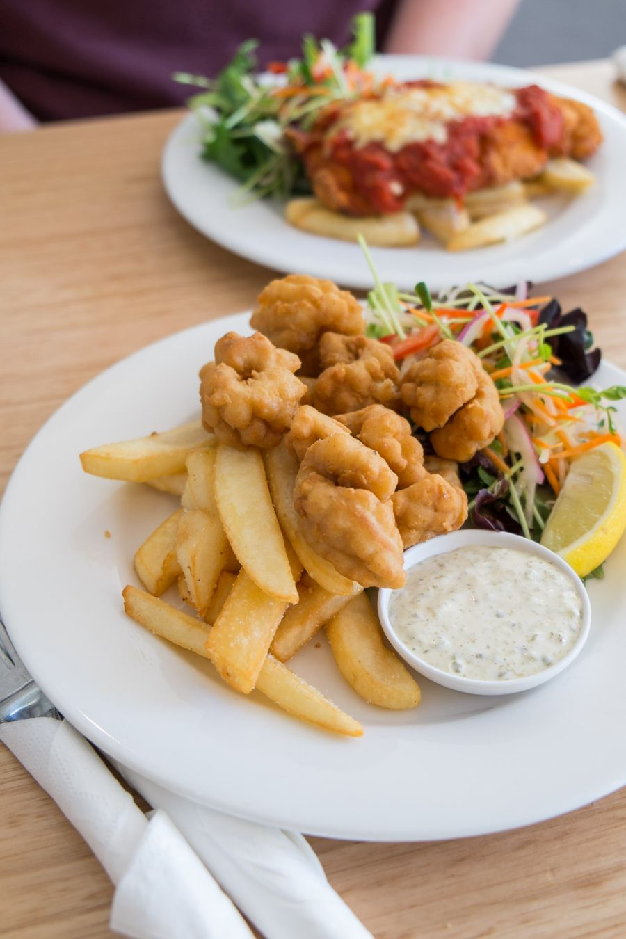 Salt and pepper squid with chips and salad (AU$15 - tour menu)