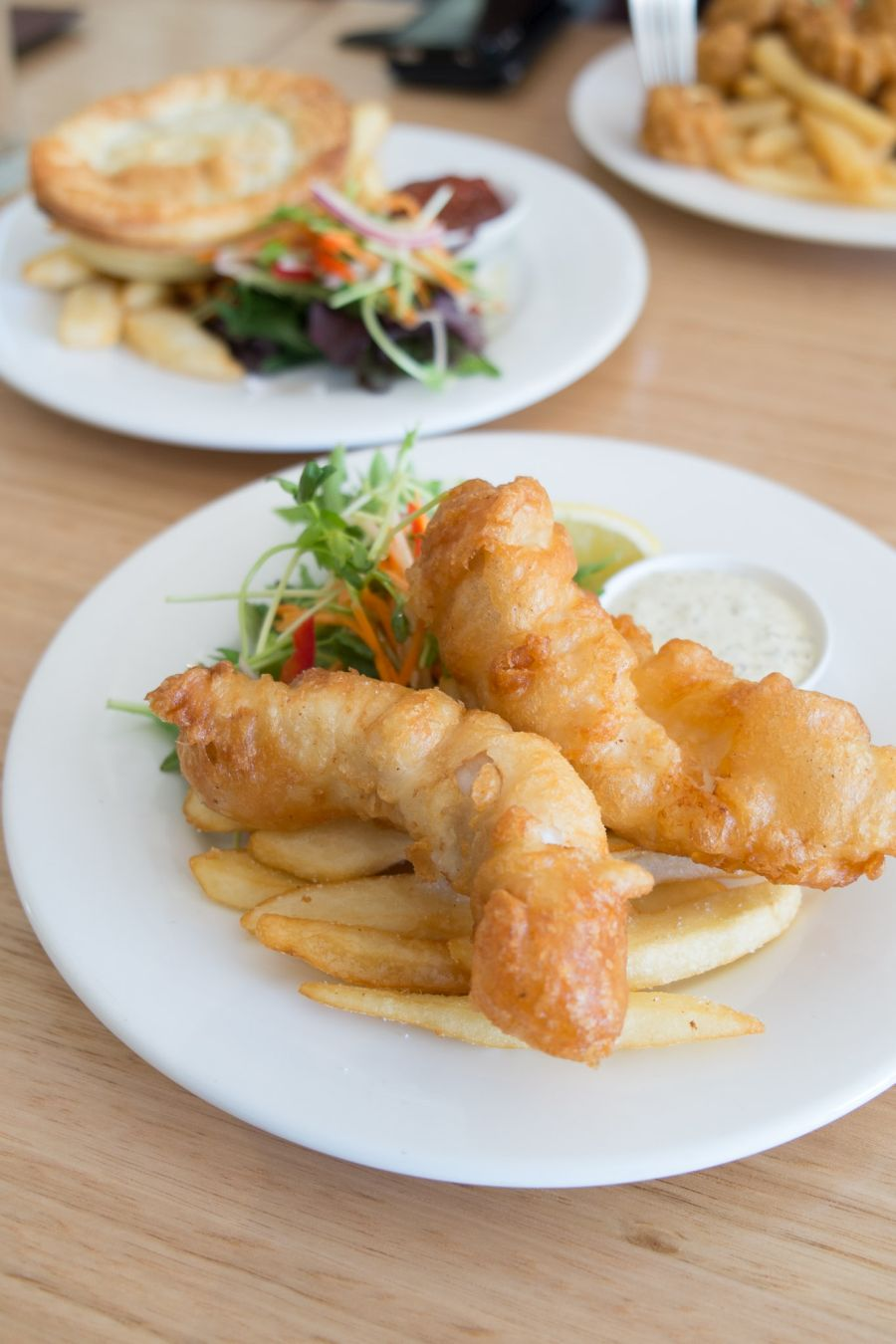 Cascade Draught beer battered fish fillets with salad and chips (AU$15 - tour menu)