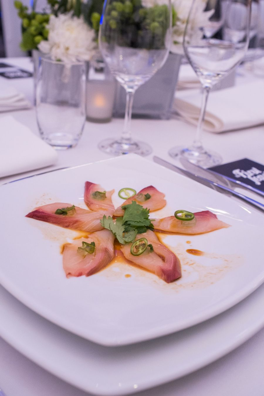 Entree (Sushia Izakaya & Bar) - Hamachi carpaccio kingfish sashimi in Asian style pesto with yuzu soy and wafu gelee