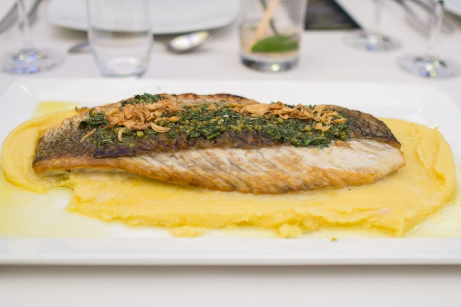 Cone Bay barramundi on white truffle potato puree