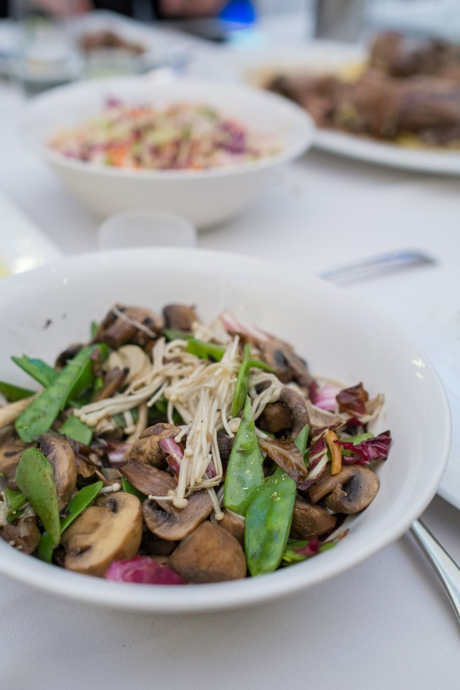 Warm salad of wild mushroom, radicchio and snow peas