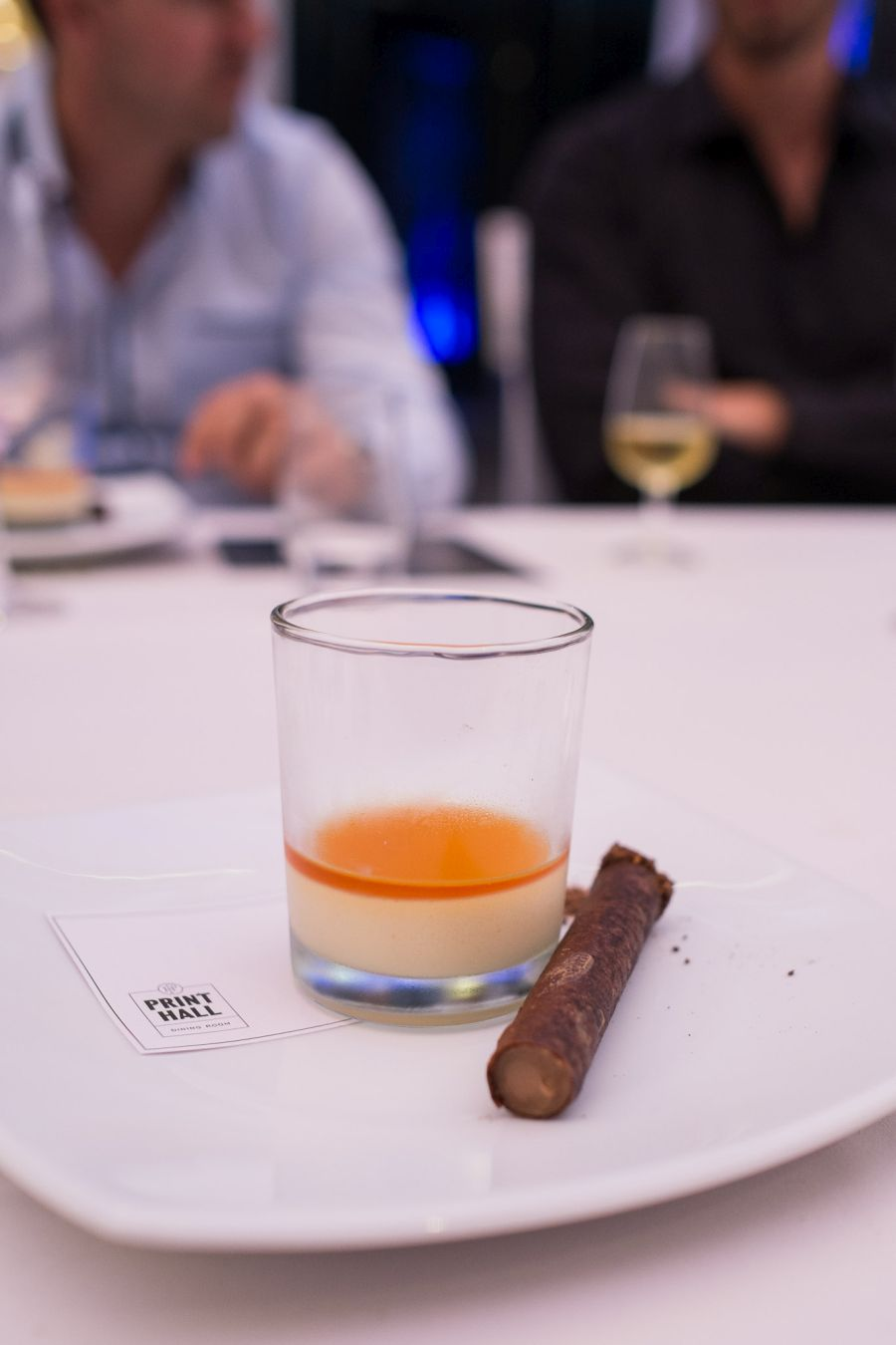 Dessert (Print Hall) - 'Whisky and Cigars' - Lochan Ora-infused cream, cocoa nib cigar